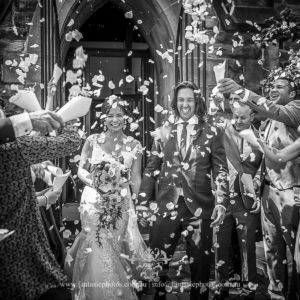 Wedding Photography | Exit flower pedal toss christ church lavendar bay | Fantasie Photography
