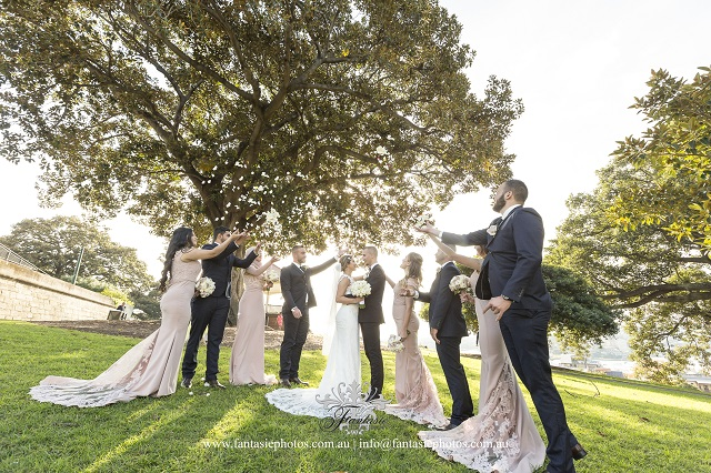 Lovely Bridal Party Flower Pedal Toss at Sydney Observatory Hills at Millers Point