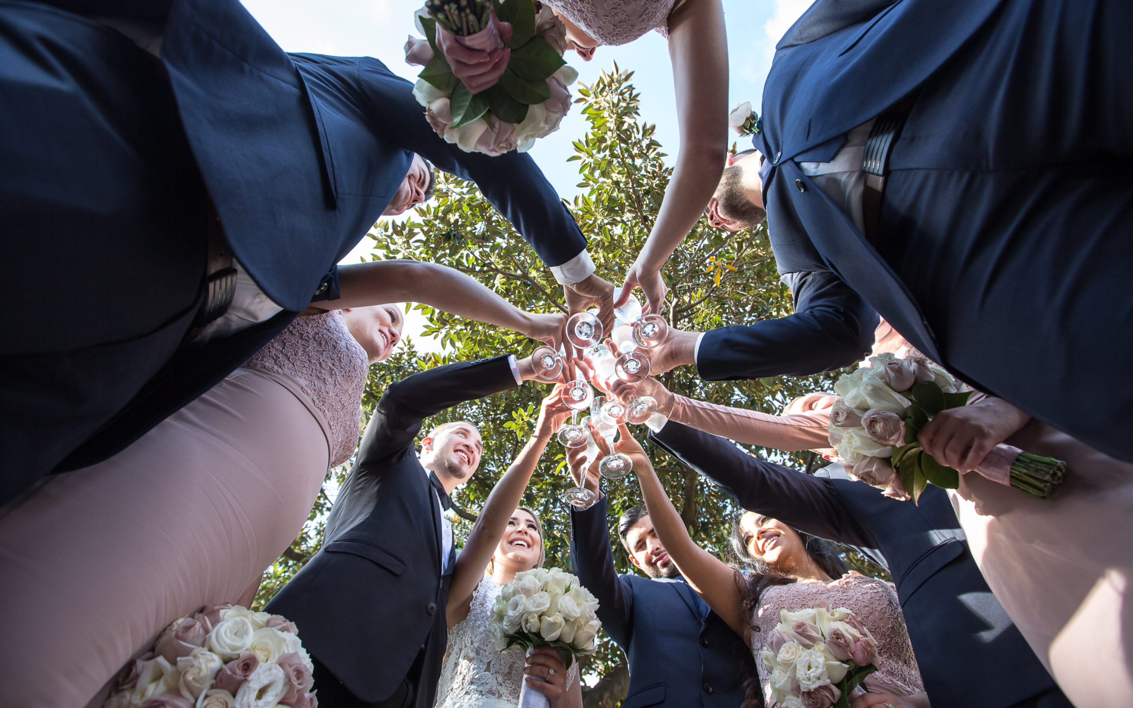 Glass Toss Bridal party