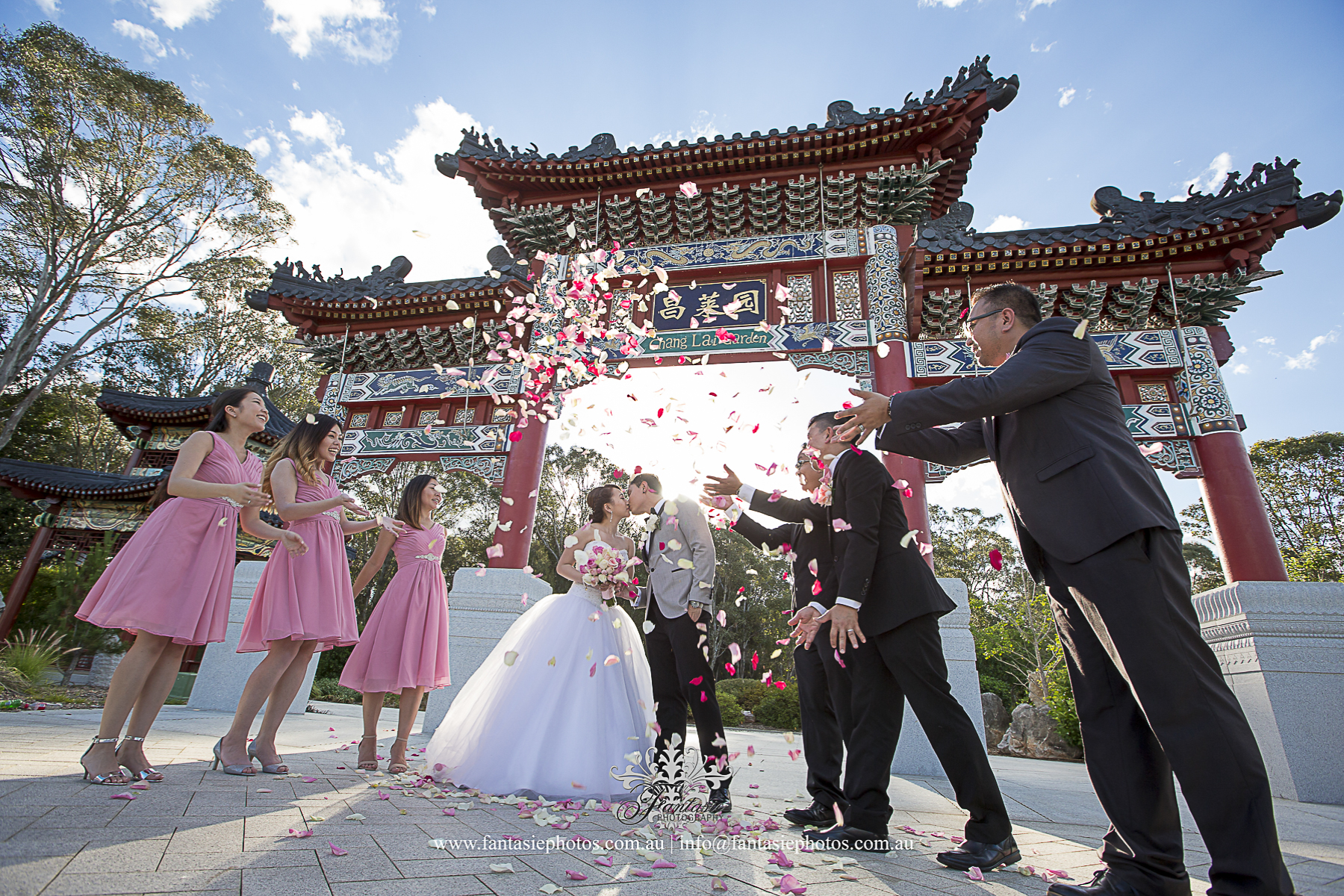 Wedding Photography Bridal Party Shoot with Flowers Pedals Colebee Centre Nurragingy Chinese garden