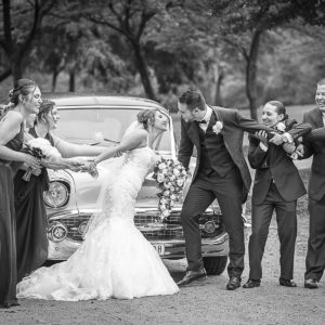Bridal Party Pulling Apart the wedding groom and bride for funny pose with classic cars at Holdroyd Garden Merrylands