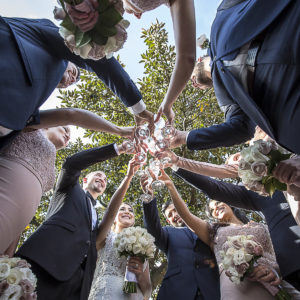 Creative Wedding Champagne Clink Toss at Observatory Hills The Rocks | Fantasie Photography