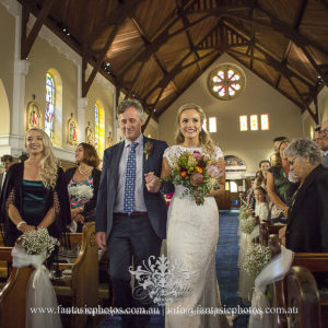 Bride and her father march in to ceremony church blessed sacrement mosman